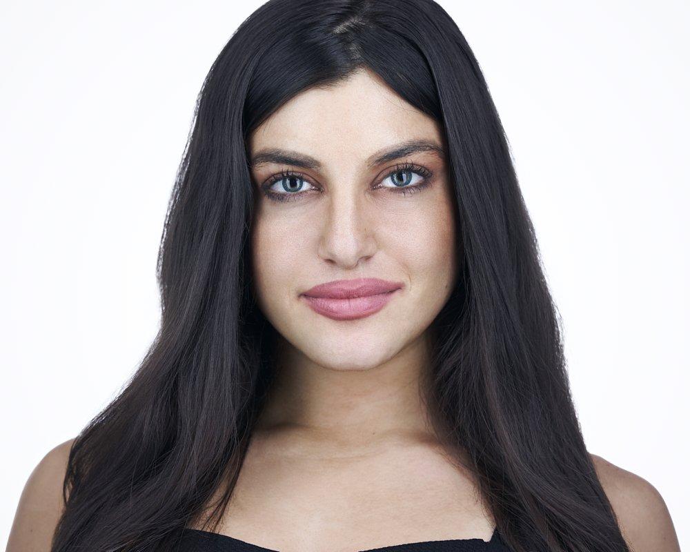 blue eyes, black hair, black top, white background headshot, palm beach gardens model headshot