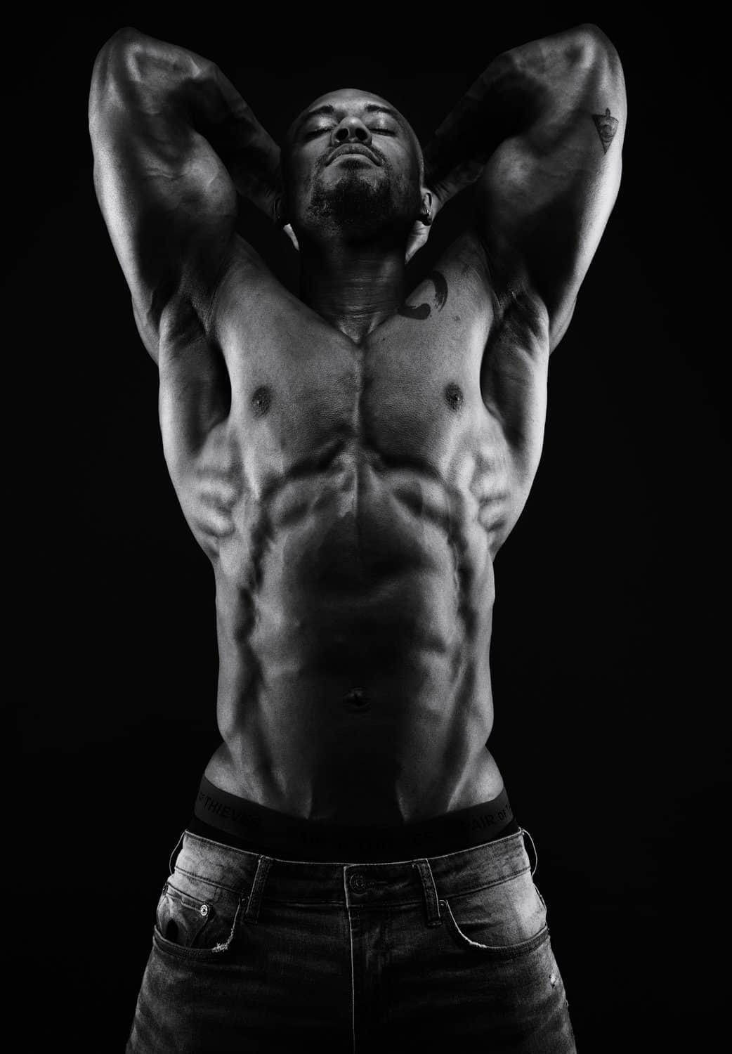 bodyscape photography, bodyscape, abs, tattoos, GQ